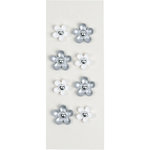 Little B - 3 Dimensional Stickers - Silver Gem Flowers - Mini