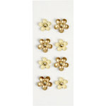 Little B - 3 Dimensional Stickers - Gold Gem Flowers - Mini
