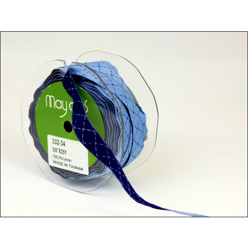 May Arts - Designer Ribbon - Diamond Stitched - Blue and Light Blue - 25 Yards