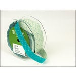 May Arts - Designer Ribbon - Diamond Stitched - Green and Teal - 25 Yards