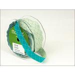 May Arts - Designer Ribbon - Diamond Stitched - Green and Teal - 25 Yards