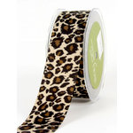 May Arts - Designer Ribbon - Grosgrain Animal Print - Leopard - 30 Yards