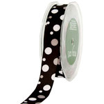 May Arts - Designer Ribbon - Grosgrain Bubble Dots - Black White and Gray - 30 Yards