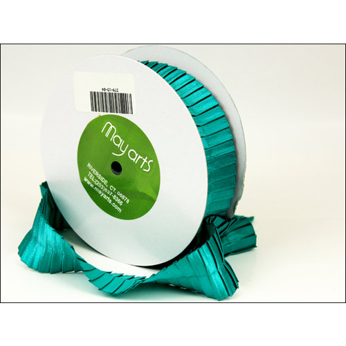 May Arts - Designer Ribbon - Stain Pleats - Teal - 15 Yards