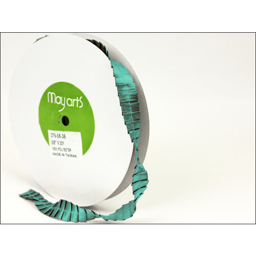 May Arts - Designer Ribbon - Satin Pleats - Teal - 20 Yards