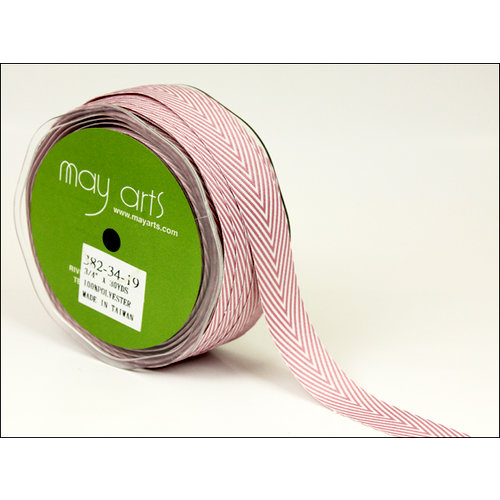 May Arts - Designer Ribbon - Twill Stripes - Mauve - 30 Yards