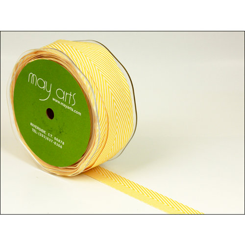 May Arts - Designer Ribbon - Twill Stripes - Yellow - 30 Yards