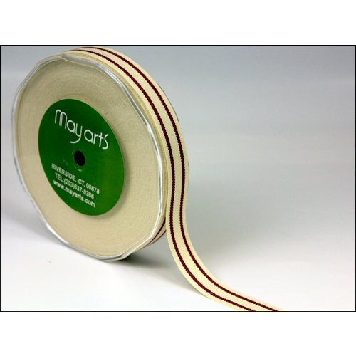 May Arts - Designer Ribbon - Organic Cotton with Stripes - Burgundy - 30 Yards