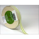 May Arts - Designer Ribbon - Organic Cotton with Stripes - Celery - 30 Yards