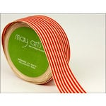May Arts - Designer Ribbon - Grosgrain with Ivory Stripes - Red - 30 Yards