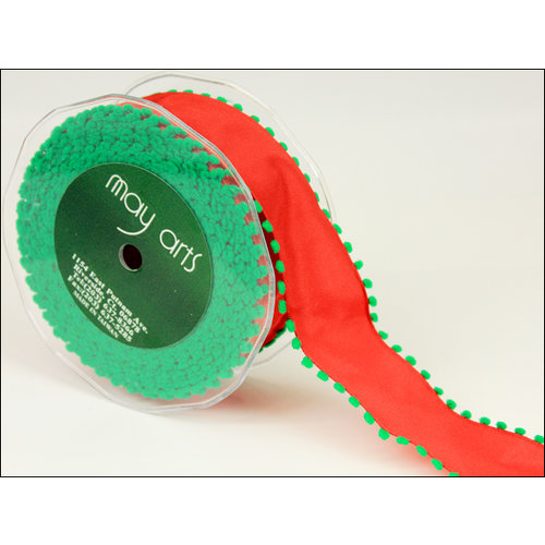 May Arts - Designer Ribbon - Wired - Red with Green Pom Poms - 25 Yards