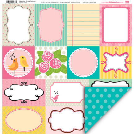 My Little Shoebox - Keepsake Collection - 12 x 12 Double Sided Paper - Simple Treasures