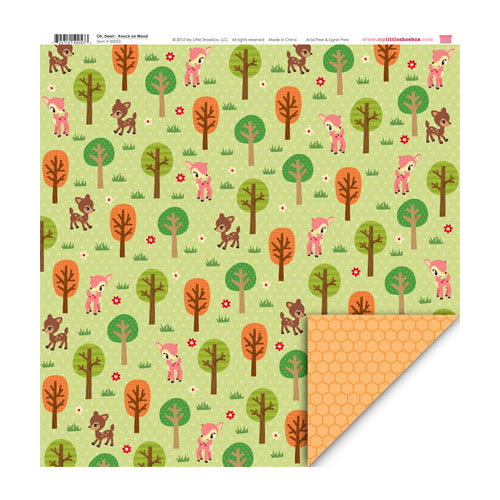 My Little Shoebox - Oh, Deer! Collection - 12 x 12 Double Sided Paper - Knock on Wood