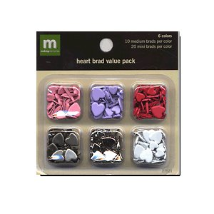 Making Memories - Value Pack - Medium and Mini Brads - Hearts