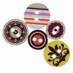 Making Memories - Chipboard Buttons - Funky Vintage - Ruby