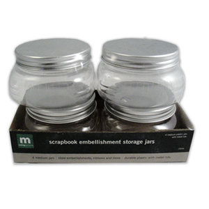 Making Memories - Scrapbook Embellishment Storage Jars - 4 Medium Jars