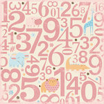 Making Memories - Animal Crackers Collection - 12x12 Flocked Paper - Ella Flocked Number, CLEARANCE