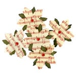 Making Memories - Fa La La Collection - Christmas - Printed Poinsettia Blossoms - Music Notes