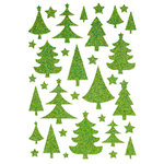 Making Memories - Fa La La Collection - Christmas - Glitter Foam Stickers - Trees