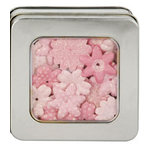 Making Memories - Flower Shop Blossoms Tin Collection - Glitter and Printed Flowers - Pink