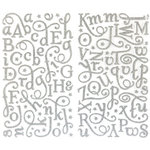Making Memories - Fa La La Collection - Christmas - Shimmer Alphabet Stickers - Silver, CLEARANCE