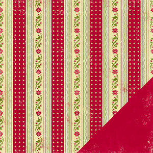 Making Memories - Fa La La Collection - Christmas - 12 x 12 Double Sided Paper - Poinsettia Stripe