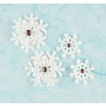 Making Memories - Fa La La Collection - Christmas - Snowflakes with Crystal Brads