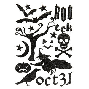 Making Memories - Spellbound Halloween Collection - Glitter Foam Stickers - Black, CLEARANCE