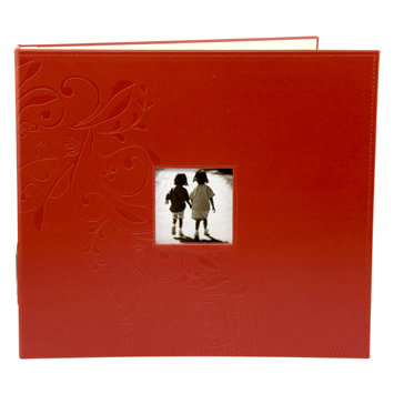 Making Memories - Paperie Collection - 12 x 12 Embossed Leather Album - 3-Ring - Red