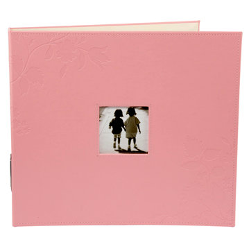 Making Memories - Paperie Collection - 12 x 12 Embossed Leather Album - 3-Ring - Pink