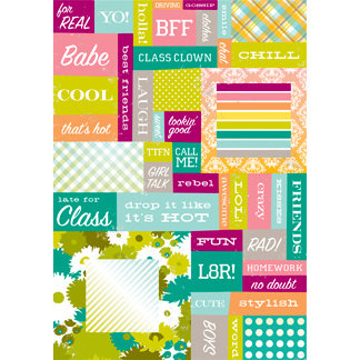 Making Memories - Just Chillin Girl Collection - Stickers - Word Fetti, CLEARANCE