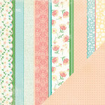 Making Memories - Flower Patch Collection - 12 x 12 Double Sided Paper - Pattern Stripe Flower Patch, CLEARANCE