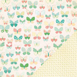 Making Memories - Flower Patch Collection - 12 x 12 Double Sided Paper - Butterfly Flower Patch, CLEARANCE