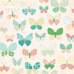 Making Memories - Flower Patch Collection - 12 x 12 Glitter Paper - Small Butterfly Flower Patch, CLEARANCE