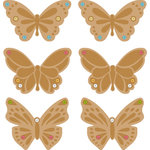 Making Memories - Embossed Butterfly Charms with Gems - Copper