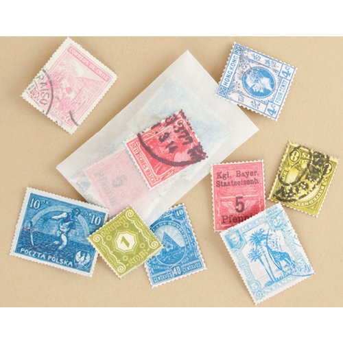 Making Memories - Vintage Findings Collection - Postage Stamps, CLEARANCE