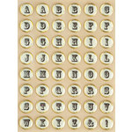 Making Memories - Vintage Findings Collection - Stickers - Foil Epoxy Alphabet - Cream