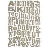 Making Memories - Shimmer Chipboard Alphabet - Mixed Jigsaw - Antique Silver, CLEARANCE
