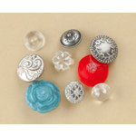 Making Memories - Vintage Findings Collection - Buttons - Silver , CLEARANCE