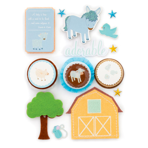 Making Memories - Pitter Patter Collection - Design Shop - 3 Dimensional Stickers with Glitter Accents - Oliver, CLEARANCE