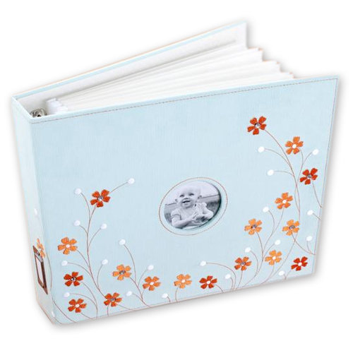 Making Memories - 12 x 12 Stitched Corduroy Album - 3-Ring - Embellished Blue