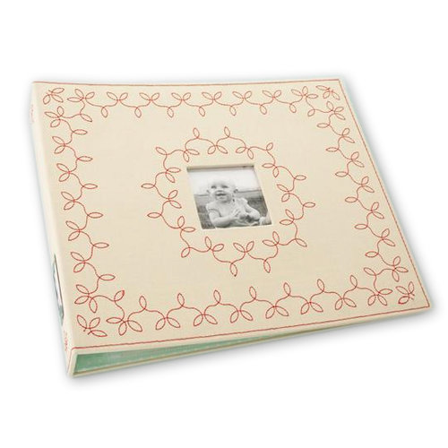 Making Memories - 12 x 12 Stitched Canvas Album - 3-Ring - Cream and Red