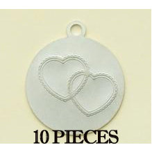 Making Memories - With Love Collection - Embossed Charms - Hearts - Silver