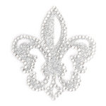 Making Memories - Glitter Bling Collection - Self Adhesive Icon - Fleur de Lis - Silver