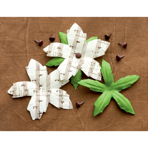 Making Memories - Noel Collection - Christmas - Poinsettia Music Notes, CLEARANCE