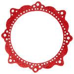 Making Memories - Glitter Bling Collection - Self Adhesive Circle Frame - Artisan Red