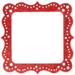 Making Memories - Glitter Bling Collection - Self Adhesive Square Frame - Artisan Red