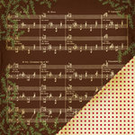 Making Memories - Noel Collection - Christmas - 12 x 12 Double Sided Paper - Music Note Brown