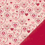 Making Memories - Je t'Adore Collection - Valentine - 12 x 12 Double Sided Paper - Pattern Hearts