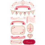 Making Memories - Je t'Adore Collection - Valentine - Dimensional Stickers with Gem Accents - Banners Amour